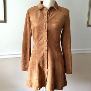 Tan Faux Suede Button Front Dress Tunic - Med